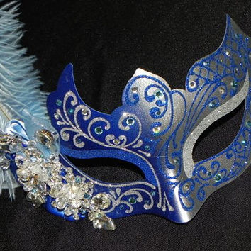 Feather Masquerade Mask in Light Blue, Royal Blue and Silver - Royal Blue Masquerade - Cinderella Mask