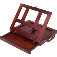 ZagGit Desktop Adjustable Mahogany Wood Art and Book Easel with Drawer