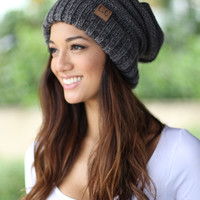 Gray Two Toned Slouchy Beanie