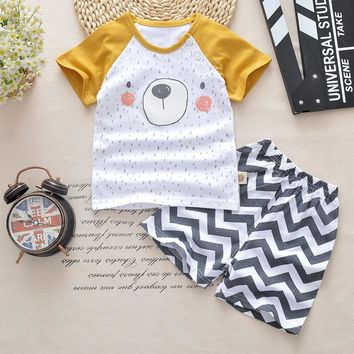 Wave Baby Boys Clothes Summer 2018 New Cotton Baby Boys Girls Clothing Set Children Girls Clothing Newborn Baby Girl Clothes