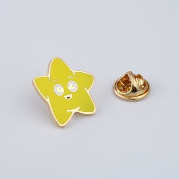 Trendy Cartoon Smiley Face Brooches Yellow Stars Enamel Pin for Girls Lapel Pin Hat/bag Pins Denim Jacket Shirt Women Brooch Badge Q489 AT_94_13