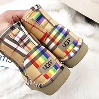 UGG & Burberry Winter Fashion New Rainbow Plaid High Quality Keep Warm Shoes Snow Boots Women