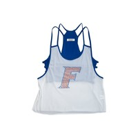 University of Florida Mesh Tank with Rhinestones and Attached Sporty Bralette