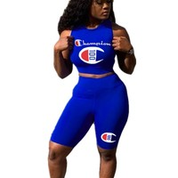 Champion Summer New Fashion Letter Print Leisure Vest Top And Shorts Two Piece Suit Women Blue