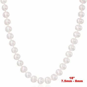 """7.5-8mm Genuine White Freshwater Cultured AAA Quality Pearl Necklace -18"""""""