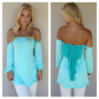 Blue Off Shoulder Blue Top