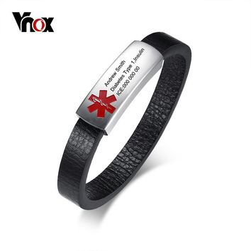 Vnox Free Laser Medical Alert ID Bracelet for Men Bangle Stainless Steel Genuine Leather Male Emergency Magnetic Closure Jewelry