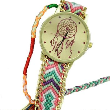 Pink, Green, and Purple Dream Catcher Friendship Bracelet Watch