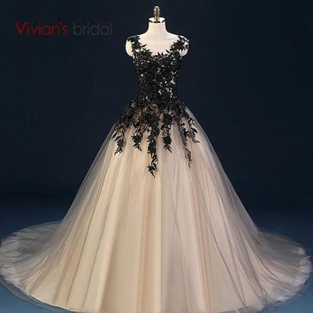 Black Lace Ball Gown Evening Dress Champagne Formal Evening Gown Sleeveless
