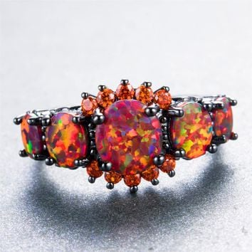Fire Opal Orange Black Gold Filled Ring