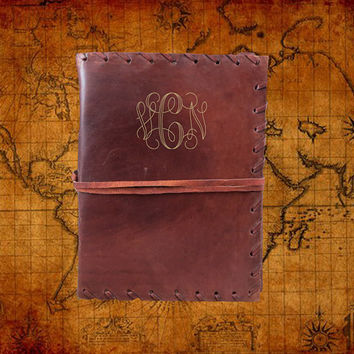 Monogrammed Leather Journal - Personalized Diary - Graduation Gift - Guestbook - 569WS