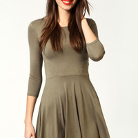Sara Long Sleeve Viscose Skater Dress