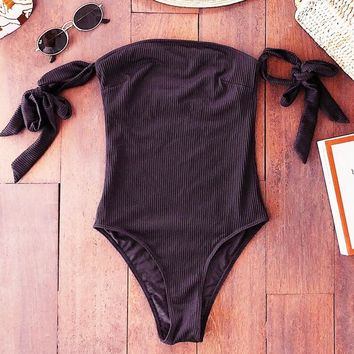 Summer Fashionable Women Pure Black Strapless One Piece Bikini Swimwear Bathing