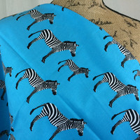 Zebras in Turquoise-- Fabric by the HALF YARD