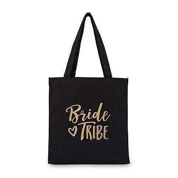 Bride Tribe Black Canvas Tote Bag Tote Bag with Gussets (Pack of 1)