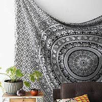 Black and White Tapestries Elephant Mandala Hippie Tapestry Indian Traditional Throw Beach Throw Wall Art College Dorm Bohemian Wall Hanging Boho Twin Bedspread (1, Black &White 1)