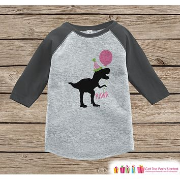 Girls Dinosaur Birthday Shirt - Dino Birthday Shirt - Onepiece or Tshirt Birthday Outfit - Grey Raglan Birthday Shirt - Funny Trex Party Hat