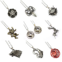 9 styles Game of Thrones necklace House Stark Winter Is Coming Bronze 2 Metal Family Crest pendant jewelry souvenirs