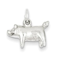 925 Sterling Silver Standing Pig Charm Pendant - 11mm