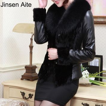 Jinsen Aite Leather Jacket Women Winter PU Jackets Coat Wool Collar Windbreak Waterproof Fur Trench Veste En Cuir Femme JS417