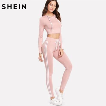 SHEIN Women Sets Clothes Two Piece Set Pink Striped Side Long Sleeve Crop Hoodie With Drawstring Waist Sweatpants Set