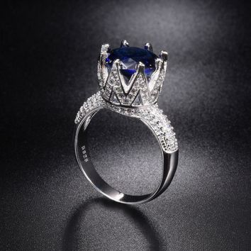 Promotion!!! Solid 100% 925 Sterling Silver Wedding Rings Crown Jewelry for Women 8ct Blue Sapphire Engagement Ring Size 5-10