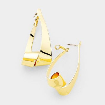"2.20"" gold geo shape pierced earrings"