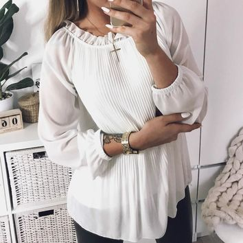 Women Pleated Blouses 2018 Fashion Top Ruffles Chiffon Long Sleeve  Blusas Spring New Casual Shirts Plus Size Solid Soft GV385