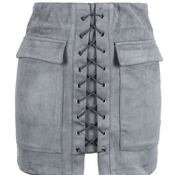 ICIKN6V Grey Faux Suede Lace Up Front Pencil Mini Skirt