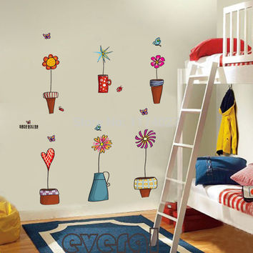 Free shipping Cartoon Flower Butterfly wall Stickers Beautiful Window glass Wall Home Decor Decoration Removable art decals