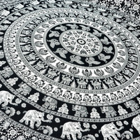 Traditional Black and white color Elephant Mandala tapestry Queen size bed sheet hippie boho wall hanging bohemian tapestry picnic sheet
