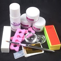 11 in 1 Nail Art Kit DIY Acrylic Nail Liquid Powder 3D Mold Pen Guide Tools Set