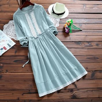 2017 New Cute Women Spring Autumn Female Dress Stand Collar Casual Loose Cotton And Linen Tunic Vestidos Full Sleeve Sweet Dress