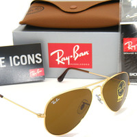 Authentic Ray-Ban Aviator 3025 RB3025 001/33 55mm Gold Frame / Brown Lens Small