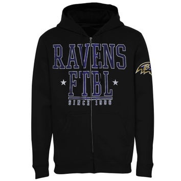 Baltimore Ravens Front And Sleeve Full Zip Jacket – Black