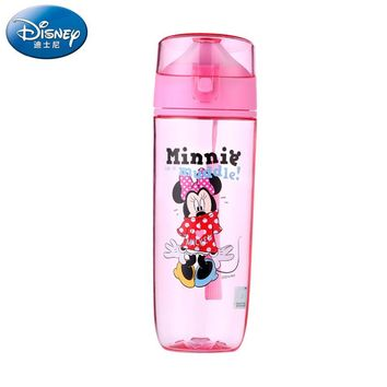 Disney 450 ML Plastic Water Bottle Cartoon BPA Free Tritan Material Eco-friendly Water Tumbler With Rope Minnie Mickey Cartoon