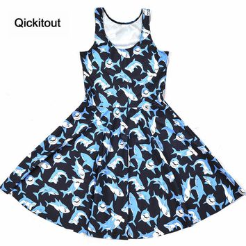 Submarine shark jump dress Summer Sleeveless Beach DRESS vestidos