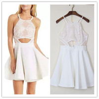 Spaghetti Strap Dress Formal Dress High Waist One-piece Dress