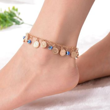 1PC Bohemian  Coin Charms Anklet Beach Barefoot Sandals Foot Anklet Women Summer Jewellery