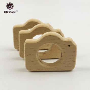 Let's make Baby Teether Eco-Friendly 10pc Montessori Inspired Organic Nursing Infant Toys Beech Wooden Camera Pendant Teething