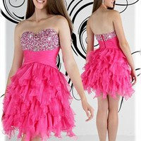 Strapless sweetheart beaded fuchsia short Prom Dresses 2012 PDM240