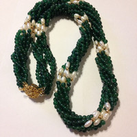 "Jade Necklace 14K Gold Freshwater Pearls 24"" Green 6 Strand Vintage Jewelry Southwestern Anniversary Valentine's Mother's Birthday Gift"