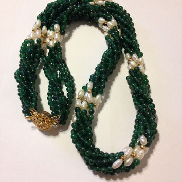 """Jade Necklace 14K Gold Freshwater Pearls 24"""" Green 6 Strand Vintage Jewelry Southwestern Anniversary Valentine's Mother's Birthday Gift"""