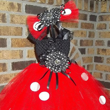 Tutu Dress-Red/White/White/Black w/Polka Dots-Pageants,Costume,Party,Birthday,Dance-Photo-Cute-Adorable-Girl
