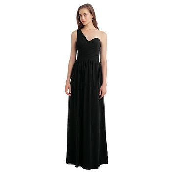 Bill Levkoff 1128 One Shoulder Chiffon Floor Length Bridesmaid Dress
