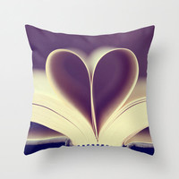 Purple Valentine's Pillow Cover, purple and white throw pillow, heart abstract geometric love book bedroom winter home decor pastel dreamy