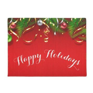 Autumn Fall welcome door mat doormat Hot Funny Happy Holidays Christmas Welcome s Red Christmas Decorative Mat for Kitchen Living Room Front Door Home Decor AT_76_7