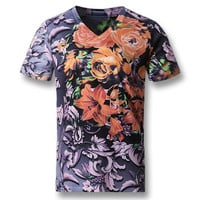 Men Short Sleeved T Shirts Men's Casual Slim Fit Large Size O Neck Floral T Shirts Camisa BL