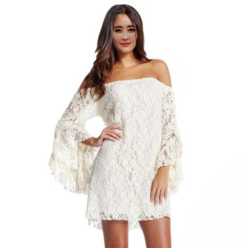 2016 summer new Cream Lace Off-The-Shoulder half sleeve white women sexy dress fashion LC2809 casual clothing plus size S-XXL