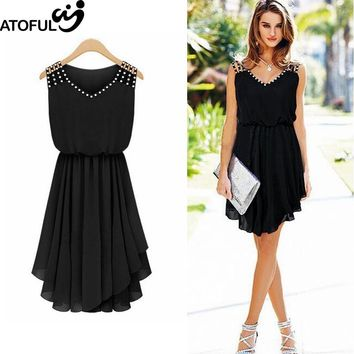 ATOFUL 2017 Fashion Irregular Dress Women Banquet Cocktail Casual Party Dress Slim Sexy V Neck Sleeveless Rhinestone Dresses